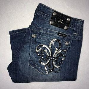 Miss Me Embellished Fleur-de-lis Bermuda Shorts 30
